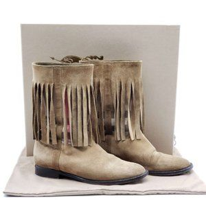 Authentic Burberry Suede Brown Ankle Boots